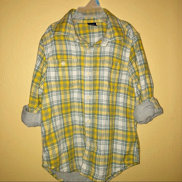 GAP Other - Boys Gap Yellow Gray Lined Plaid Button Up